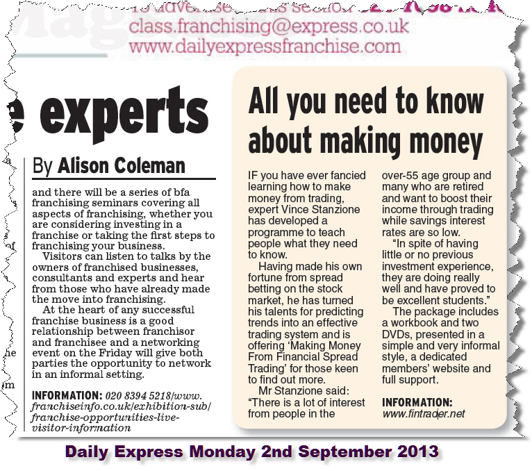 Vince Stanzione newspaper review making money trading shares financial spread betting